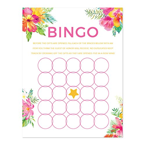 Andaz Press Tropical Floral Garden Party Wedding Collection, Bridal Shower Bingo Game Cards, 20-Pack