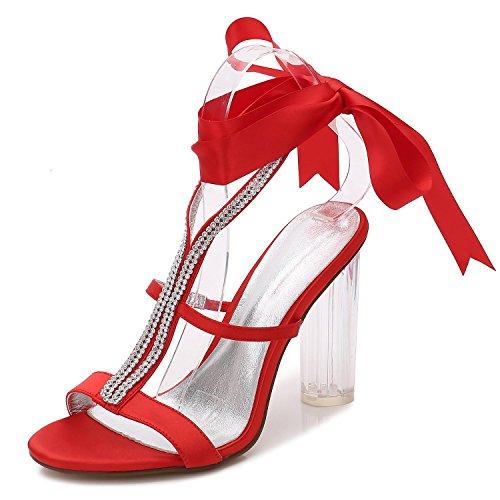 L@YC Frauen Hochzeit Schuhe F2615-6 Silk Satin Ribbon Toe Pumps Brautjungfer Plattform/Nacht/Kristall Red