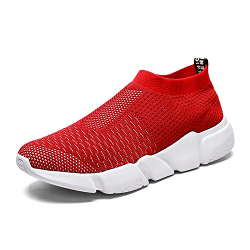 YALOX Women's Lightweight Breathable Shoes Athletic Sneakers Fashion Casual Walking Slip On Shoes (Red,size8)