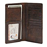 HOJ Co. Men's Leather LONG Bifold Wallet-Full Grain Leather-Rodeo Wallet For Men-Slim Design (Brown Natural Grain)