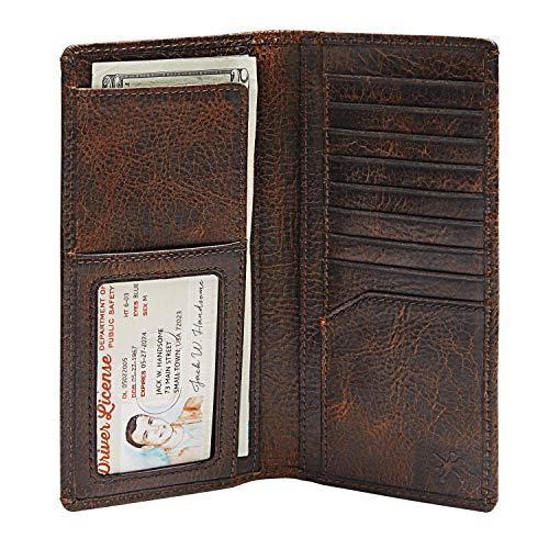 HOJ Co. Men's TALL Wallet-Full Grain Leather-LONG WALLET-Men's Long Bifold Leather Wallet