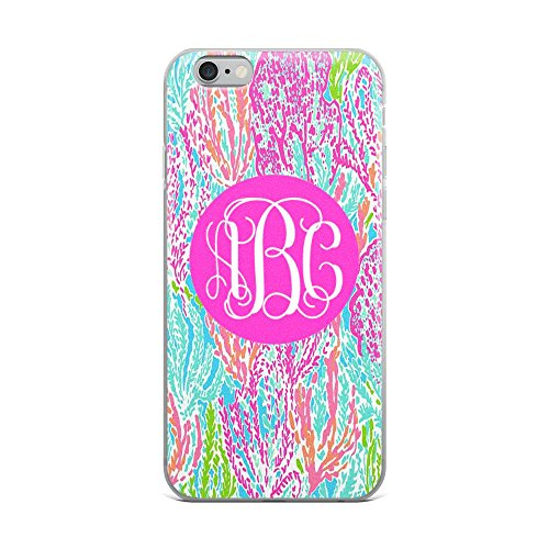 Custom Monogrammed   Lilly Inspired Print   Iphone 6 Plus Or 6S Plus Case  Coral Reef