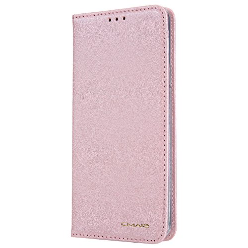 Hawk Footwear - Samsung S9 Plus Leather Wallet Cell Phone Card Holder Case Protective Kickstand Flip Cover, Rose Gold