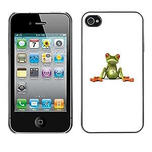 """iPhone 4 / 4S , JackGot - Impreso colorido protector duro espalda Funda piel de Shell (Rana blanca minimalista minimalista Limpio Lindo"""")"""