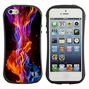 Hybrid Anti-Shock Bumper Case for Apple iPhone 5 5S / Cool Fire Flames
