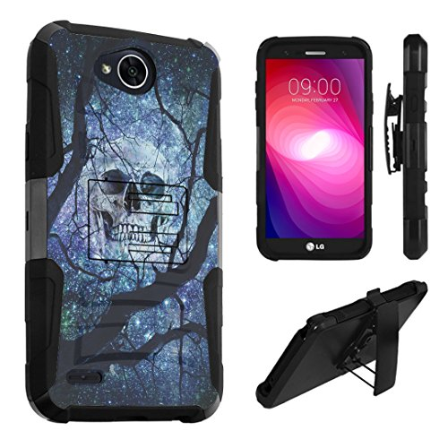LG X Power 2 Case, LG Fiesta Case, LG X Charge Case, DuroCase Dual Layer Kickstand Case Holster for LG X Power 2 / Fiesta LTE / X Charge / K10 Power / LV7 - (Black Skull Space Black Tree)]()