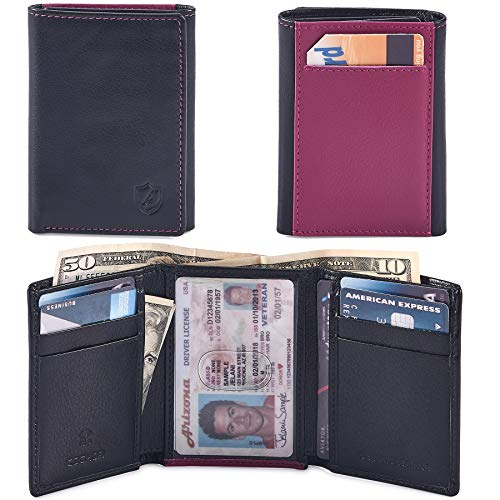 COCHOA Men's Trifold Minimalist Billfold Wallet With ID Window and back card pocket, RFID Blocking, Gift Box