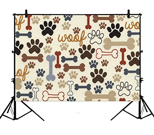 7x5ft Dog Paws and Bones Polyester Photography Backdrop Studio Prop Photo Background