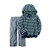 Carter's Baby Boys' 2-Piece Hoodie and Pant Set Navy Mint Stripe 9 Months