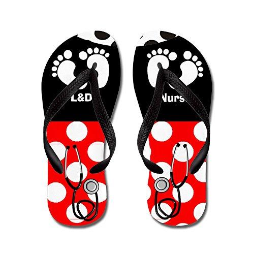 Cafepress Ld Nurse 9 Slippers - Flip Flops, Grappige Leren Sandalen, Strand Sandalen Zwart