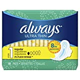 Always Ultra Thin, Size 1, Regular Pads With Wings, Unscented, 18 Count, Packaging May Vary