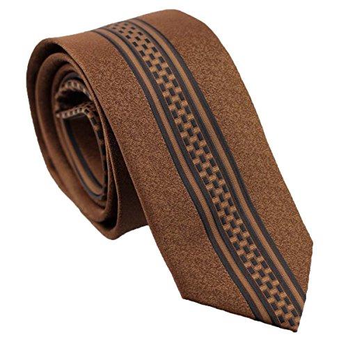 Corvette Black Bass (MINDoNG - Ties Brown with Black Line Stripe Panel Necktie Microfiber Skinny Tie)
