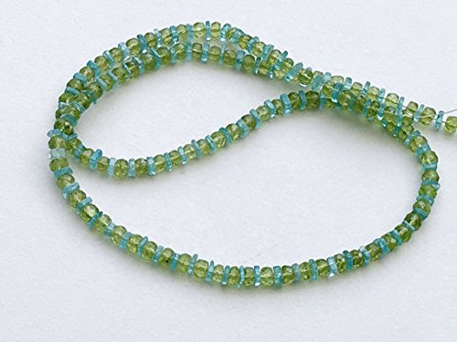 Necklace Apatite Peridot (1 Strand Natural Peridot & Neon Apatite Necklace, Faceted Peridot Rondelles and Neon Apatite Heishi Beads, 5mm, 20 Inch)