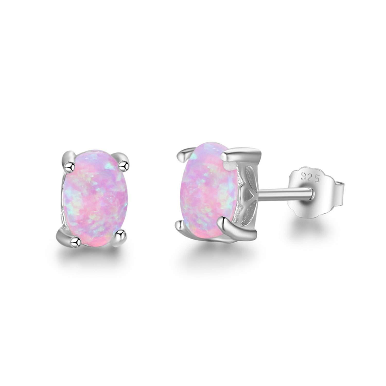 925 Sterling Silver Stud Earrings For Women Cute 4Mm Created Oval White Pink Blue Fire Opal Earrings Jewelry,Pink Opal