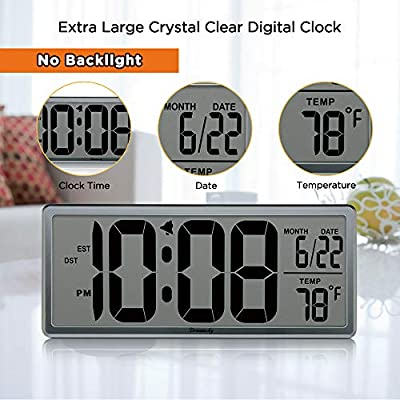 DreamSky 13-Inch Digital Clock with Alarms, Auto Time Setting, Time Date Temperature Display, Battery Operated Wall Clocks for Office Bedroom.
