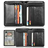 Mens Leather Wallets,Men Genuine Leather RFID Blocking Trifold Wallet Money Clip