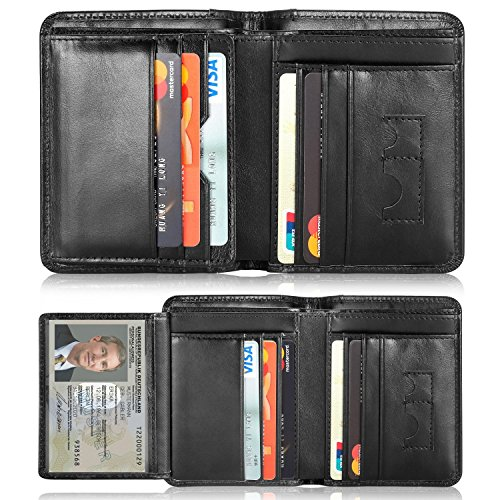 Mens Leather Wallets,Men Genuine Leather RFID Blocking Trifold Wallet Money - Gents Leather