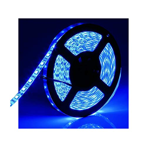 Water-Resistance IP65, 12V Waterproof Flexible LED Strip Light, 16.4ft/5m Cuttable LED Light Strips, 300 Units 3528 LEDs Lighting String, LED Tape(Blue) Power Adapter not Included -