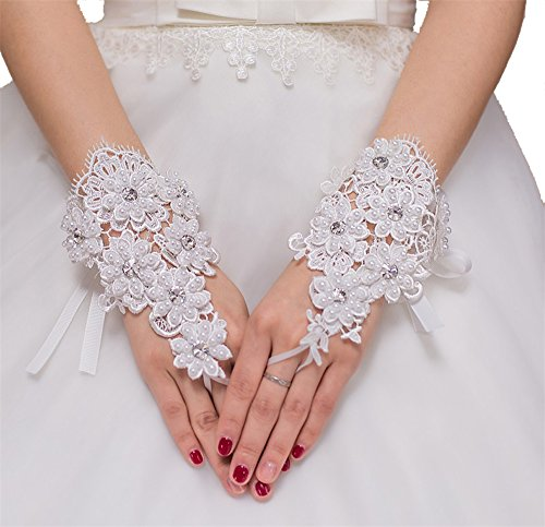 ASAブライダルレディース結婚式手袋3d-flowersレース指なしイブニング手袋