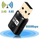 Wireless USB Wifi Adapter AC600Mbps Network Adapter, 802.11ac Dual Band 2.4G/5G Wifi Dongle for Desktop Pc Laptop