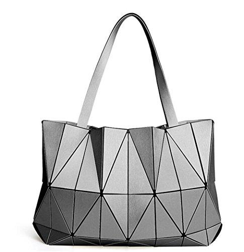Borse Donna Geometry Luminoso Borse pieghevoli di colore opaco Borsa a forma di diamante deep blue gray