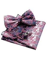 Alizeal Mens Gradient Mini Paisley Pre-tied Bow Tie, Hanky and Cufflinks Set, Pink