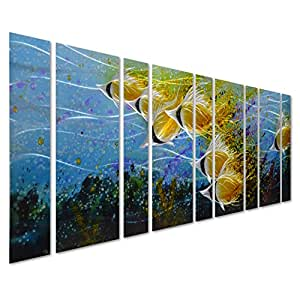 "Pure Art Blue Tropical School of Fish Metal Wall Art, Giant Art in Modern Ocean Design, 9-Panels of 86""x 32"", 3D Wall Art for Modern and Contemporary Decor, Metal Wall Decor Works Everywhere"