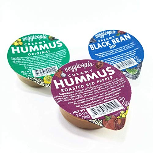 (Veggicopia Creamy Dip Variety Pack - Original Hummus, Roasted Red Pepper Hummus, Black Bean Dip - All natural, gluten free, dairy-free, vegan - No refrigeration required - 2.5 oz dip cups (Pack of 12))