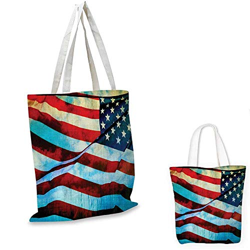Blank Utility Pouch - American Flag shopping bag storage pouch American Flag in the Wind on Flagpole Memorial Patriotism History Image Print small tote shopping bag Blue Red. 15