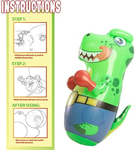JOYIN Inflatable T-Rex Dinosaur Bopper 47 Inches, Kids Punching Bag with Bounce-Back Action,Inflatable Punching Bag for Kids Gift