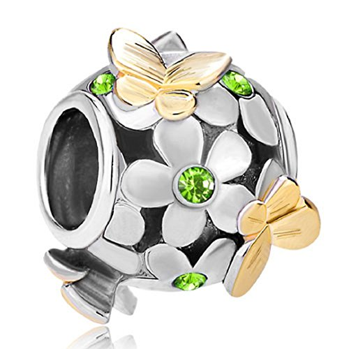 Flying Butterfly Flower Golden 925 Sterling Silver Charm Crystal Bead Fits European Charms (Peridot August Birthstone) ()