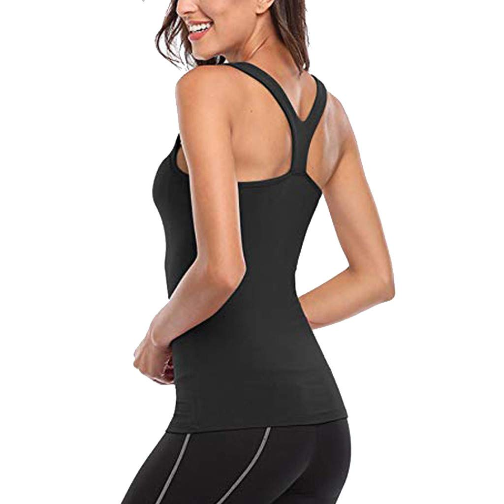 Onegirl Tops for Women Solid Color Tight Yoga Tank Top Workout Sport Yoga Cold Shoulder Strap Basic Vest