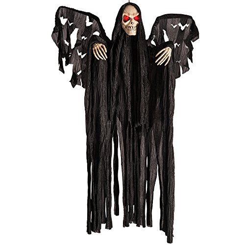 Carnival Toys 8990 – Winged Skeleton Black D App with Light, Sound and Movement Eyes, 60 cm, Black