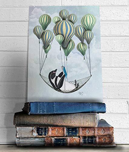 Cazvas Penguin Print - Penguin in Hammock - Penguin Nursery Art Penguin Gift Penguin dÃcor Penguin Picture Penguin Illustration Penguin Poster Frame