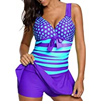 Inkach-- Womens Tankini Swimwear | Polka Dots Printed Bathing Suit | Push-up Padded Bra Two Piece Swimsuit Plus Size