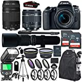 Canon EOS 77D DSLR Camera with 18-55mm & 75-300mm Lens + 500mm Preset Manual Lens + Speedlight TTL Flash + 64GB Memory + Wide & Tele Auxiliary Lenses + High Def Filter & Macro Kit + Accessory Bundle