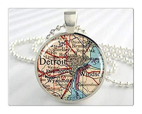 Detroit Map Pendant, Detroit Michigan Map, Resin Pendant Jewelry, Map Necklace, Vintage Map, Round Silver Pendant
