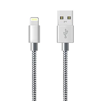 Cargador iPhone (3m/10pies,Gris) Cable Lightning iPhone USB de sincronización rápida de Nailon Trenzado Compatible con iPhone XS/XR/X/8/8 ...