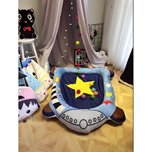 Cartoon Houseboat Designs Polyester Rug - Round Kids Play Mat Indoor Activities Carpet 47 x 59 Inch Dream House Play Carpet