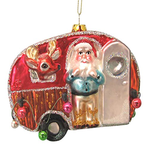 Kurt Adler Camping Trailer, Glass made our list of the most unique camping Christmas tree ornaments to decorate your RV trailer Christmas tree with whimsical camping themed Christmas ornaments!