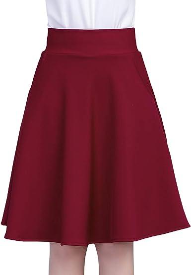 E-Girl - Falda - Trapecio o Corte en A - para Mujer Rojo L=40 ...