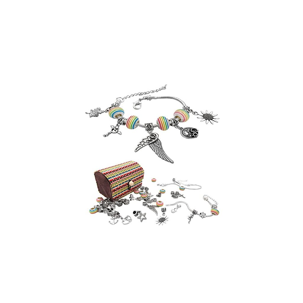 10x 5x 20x Rainbow Silver Plated Charm Beads Fit European Chain Bracelet