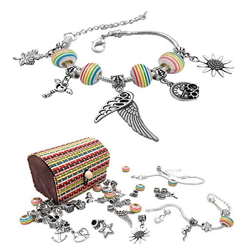 justBe Charm Bracelet Making Kit DIY Craft European Bead Silver Plated Snake Chain Jewelry Gift Set For Girls Teens - Charm Bracelet Craft Kit