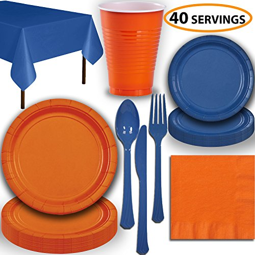 Disposable Party Supplies, Serves 40 - Orange and Blue - Large and Small Paper Plates, 12 oz Plastic Cups, Heavyweight Cutlery, Napkins, and Tablecloths. Full Two-Tone Tableware Set -