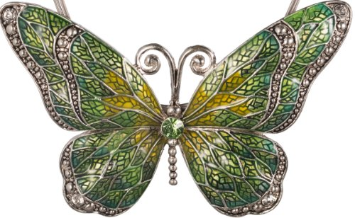 Jewelry Nexus Green Butterfly Pendant Cord Necklace Set with Enamel Inlay and Matching -
