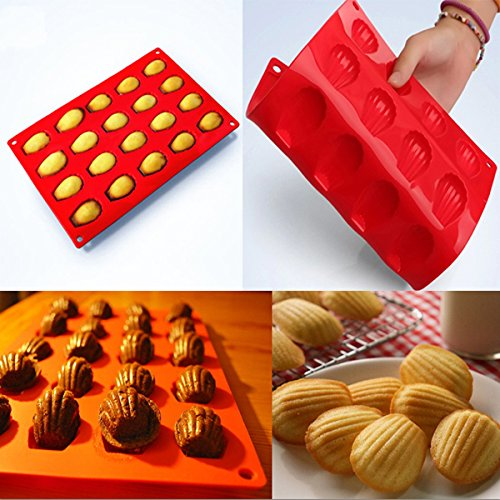 20 Cavity Silicone Shell Cake Pan Cake Bread Chocolate Jelly Candy Baking Mould Craft Mold.