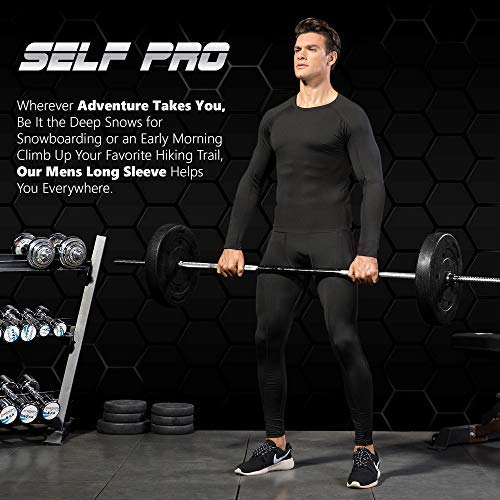 Men's Gear Compression Shirt Long for Weather Tops Black
