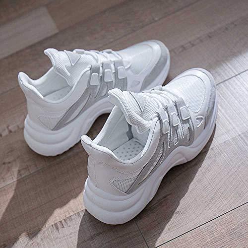 Gris De Zapatos 41 Suela Cosiendo Mujer Transpirable Aumento Malla Moda Zapatillas Sylar Gruesa Casuales 36 Cordones EZqwaR1