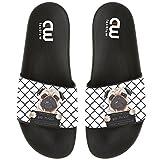 Funny Cartoon Bad Dog Pug Prisoner Summer Slide Slippers For Boy Girl Outdoor Beach Sandal Shoes size 3