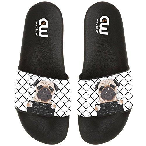 Funny Cartoon Bad Dog Pug Prisoner Summer Slide Slippers For Boy Girl Outdoor Beach Sandal Shoes size 3 by OriginalHeart (Image #4)